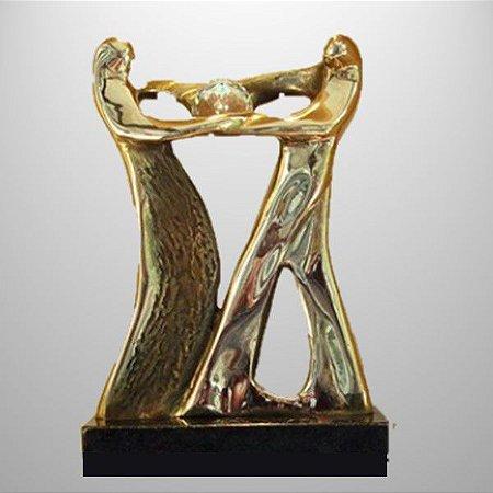 """""""Colaborar""""  Escultura em bronze com cristal SWAROVSKI - 20 mm"""
