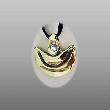 """""""Anjo da guarda"""" - Pingente de bronze com cristal 4 cm c- c/mensagem, cordão de camurça ecológica regulável  e cristal SWAROVSKI"""