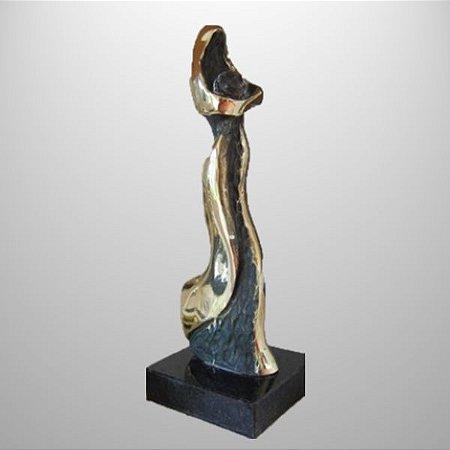 """""""Comprometimento"""" - 23 cm -escultura de bronze c/cristal SWAROVSKI, com mensagem"""