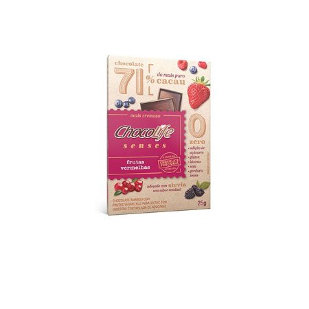 Tablete Chocolife Senses 71% Cacau Com Frutas Vermelhas 25g