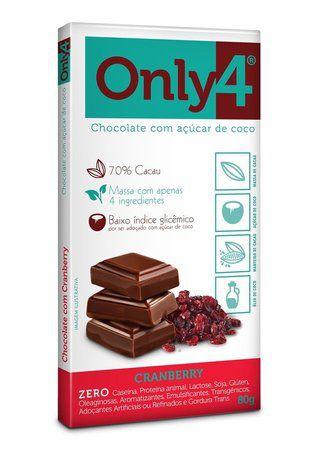 TABLETE DE CHOCOLATE COM AÇÚCAR DE COCO E CRANBERRY ONLY4 80g