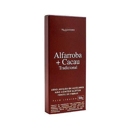 Tablete De Chocolate: Alfarroba + Cacau Tradicional Tri-gostoso 50g