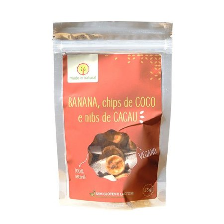 SNACK NATURAL DE BANANA, CHIPS DE COCO E NIBS DE CACAU MADE IN NATURAL - TROPICAL SMOOTHIE 50g