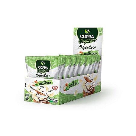 Chips De Coco Orgânico, Sem Açúcar Copra Contendo 10 Pacotes De 20g Cada Sabor Salsa E Cebola