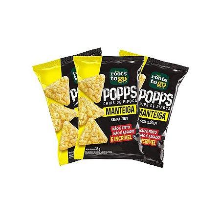 Popps Chips De Pipoca Manteiga Sem Glúten Roots To Go Contendo 3 Unidades De 35g Cada