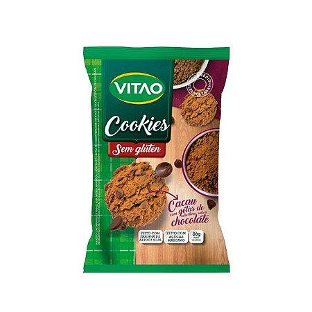 COOKIES SEM GLÚTEN CACAU E GOTAS SABOR CHOCOLATE VITAO 80g