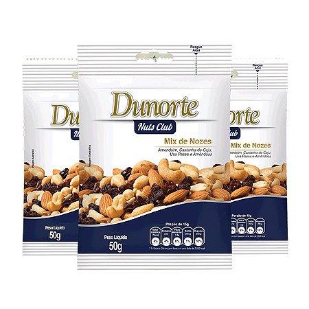 Mix De Nozes Dunorte Contendo 3 Pacotes De 50g Cada