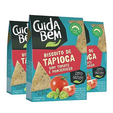 Biscoito De Tapioca Com Tomate E Manjericão Cuida Bem Contendo 3 Pacotes De 50g Cada