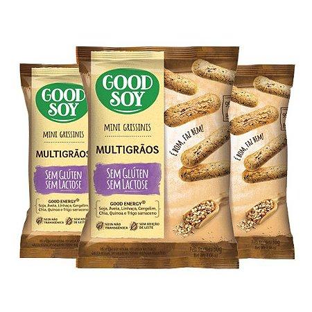 Mini Grissinis Good Soy Sem Glúten Multigrãos Contendo 3 Pacotes De 30g Cada