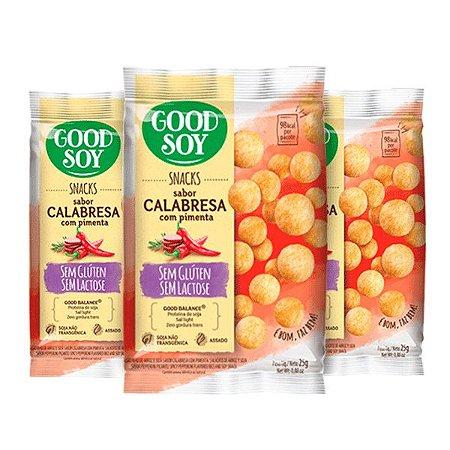Snacks De Soja Good Soy Sabor Calabresa Com Pimenta Contendo 3 Pacotes De 25g Cada