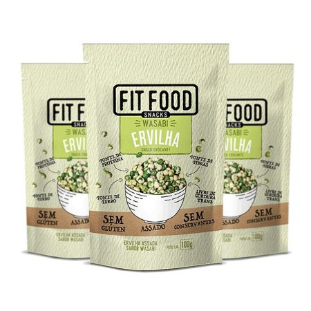 Snack Ervilha Wasabi Fitfood Contendo 3 Pacotes De 100g Cada
