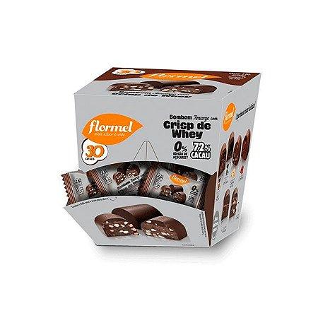Bombom Flormel Chocolate Amargo Com Crisp De Whey Zero Açúcar Contendo 18  Bombons