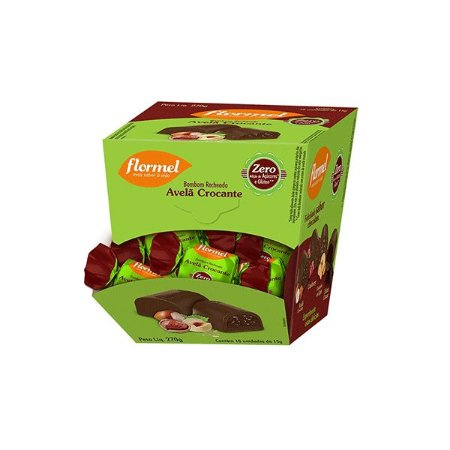 Bombom Flormel Com Creme Avelã Crocante Zero Açúcar Contendo 18 Bombons