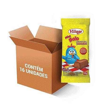 Bolinho Village Galinha Pintadinha Sem Lactose Sabor Chocolate Contendo 16 Mini Bolos De 30g Cada
