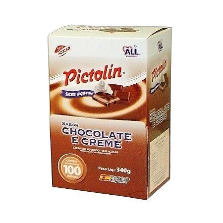 Bala Sem Açúcar Pictolin Chocolate E Creme Contendo 340g