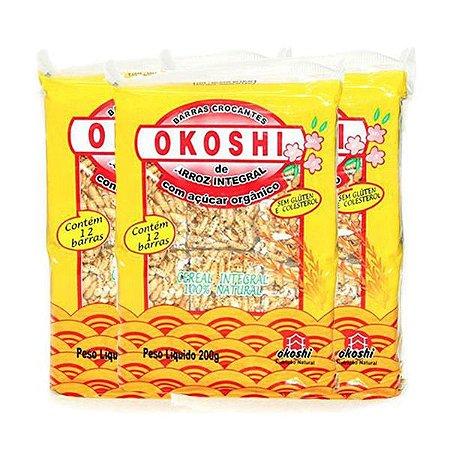 Barras Crocantes Arroz Integral Com Açúcar Orgânico Zero Glúten Okoshi Contendo 3 Pacotes De De 200g Cada