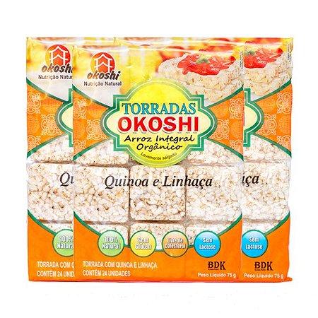 Torrada Orgânica Zero Glúten Quinoa E Linhaça Okoshi Contendo 3 Pacotes Com 24 Unidades Cada