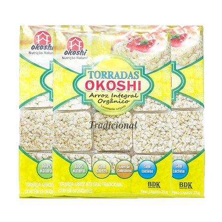 Torrada Orgânica Zero Glúten Okoshi Contendo 3 Pacotes Com 24 Unidades Cada
