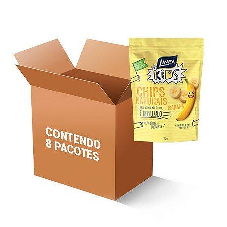 Chips Naturais Banana 100% Fruta Crocante Linea Contendo 8 Pacotes De 12g Cada