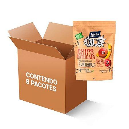 Chips Naturais Salada De Frutas (Banana, Maçã e Manga) 100% Fruta Linea Contém 8 Uni De 12g Cada