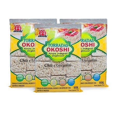 Torrada Orgânica Zero Glúten Chia E Gergelim Okoshi Contendo 3 Pacotes Com 24 Unidades Cada.