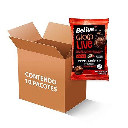 Choco Live Drageados Zero Glúten, Zero Açúcar Cacau Com Chocolate 70% Belive 10 Pacotes De 35g