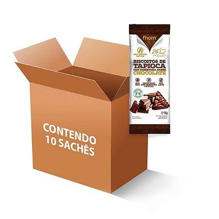 Biscoito de Tapioca com cobertura sabor Chocolate 10 sachês de 15g cada