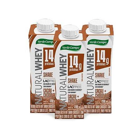 Shake Natural Whey Verde Campo Chocolate contendo 3 unidades de 250ml cada