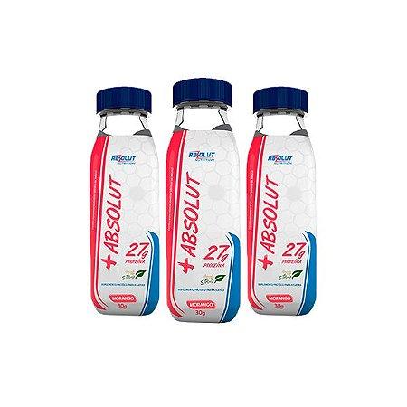 Whey Protein + Absolut 27g Proteína Morango Absolut Nutrition Contendo 3 Garrafas De 30g Cada