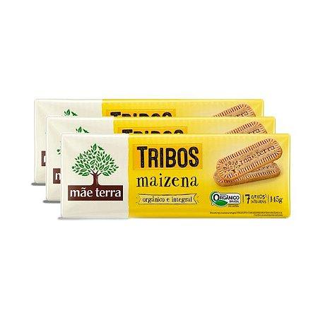 Biscoito Maisena Orgânico E Integral Mãe Terra Contendo 3 Pacotes De 145g Cada