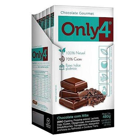 Tablete De Chocolate 70% Cacau Com Açúcar De Coco E Nibs Only4 Contendo 6 Barras De 80g Cada
