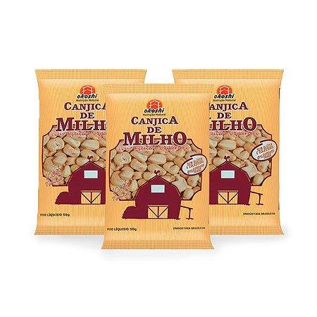 Pipoca de Canjica de Milho com Açúcar de Coco Okoshi contendo 3 pacaotes 36g cada