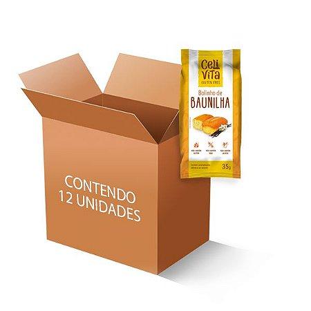 Bolinho de baunilha sem gluten e sem lactose CeliVita Gluten Free contendo 12 unidades de 35g cada