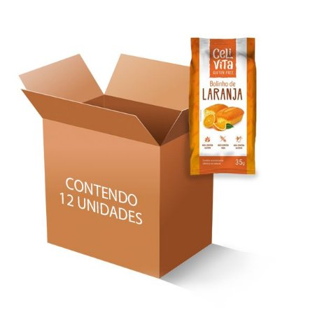 Bolinho de laranja sem gluten e sem lactose CeliVita contendo 12 unidades de 35g cada