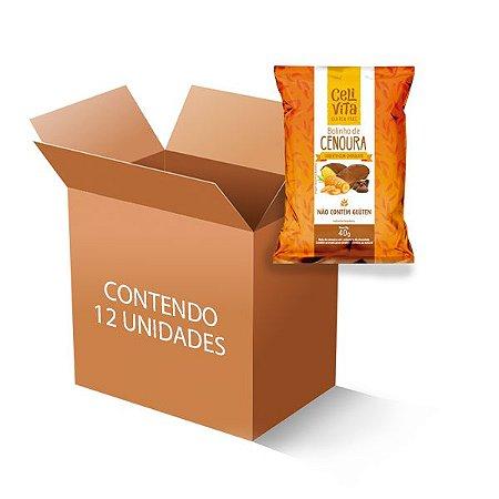 Bolinho de cenoura coberto com chocolate sem gluten e sem lactose CeliVita Gluten Free contém 12 uni de 40g cada