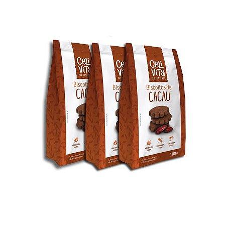Biscoitos de cacau sem gluten e sem lactose CeliVita Gluten Free contendo 3 pacotes de 100g cada