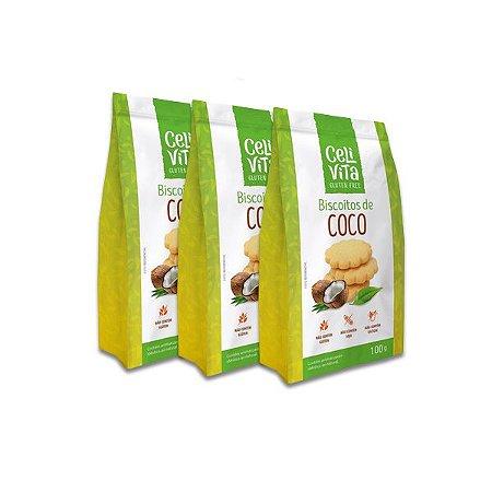 Biscoitos de coco sem gluten e sem lactose CeliVita Gluten Free contendo 3 pacotes de 100g cada