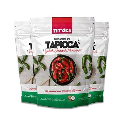 Biscoito de Tapioca Cheddar Mexicano Fit´Oka contendo 3 pacotes de 50g cada