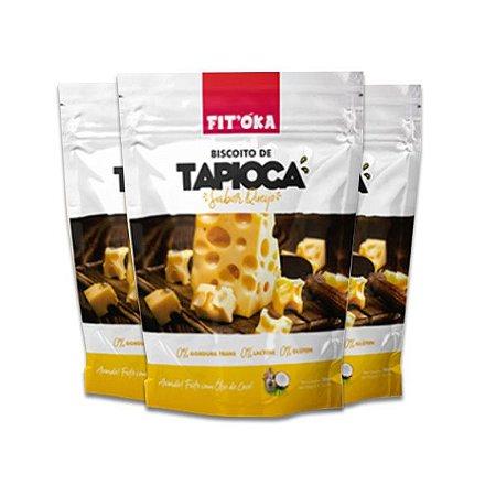 Biscoito de Tapioca Queijo Fit´Oka contendo 3 pacotes de 50g cada