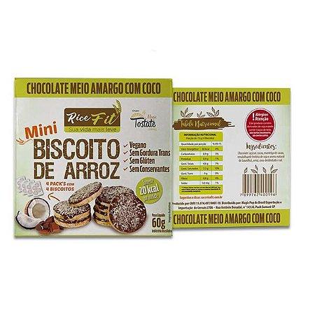 Biscoito de Arroz Mini coberto com Chocolate Meio Amargo e Coco Rice Fit 60g