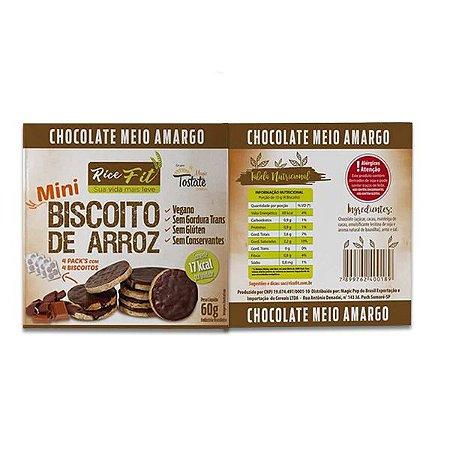 Biscoito de Arroz Mini coberto com Chocolate Meio Amargo Rice Fit 60g