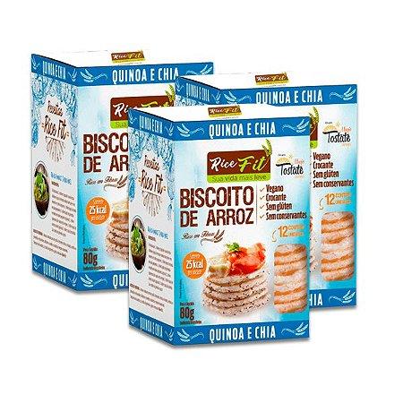 Biscoito de Arroz Quinoa e Chia Rice Fit contendo 3 caixas de 80g cada