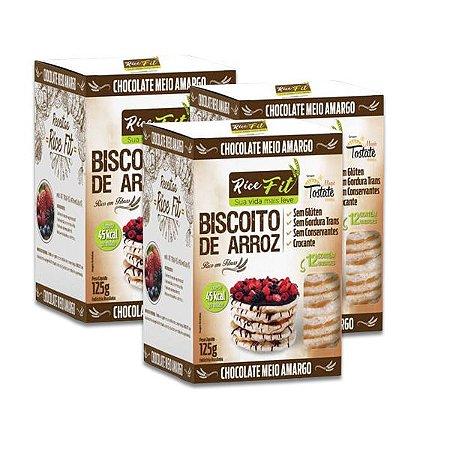 Biscoito de Arroz Coberto com Chocolate Meio Amargo Rice Fit contendo 3 caixas de 125g cada