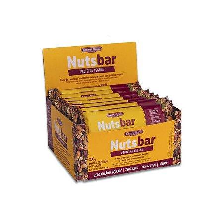 Nuts Bar Proteína Vegana, Amendoim, Banana e Canela Zero Açúcar, Zero Glúten contendo 12 barras de 25g cada
