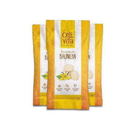 Biscoito de baunilha sem gluten e sem lactose CeliVita Gluten Free contendo 3 pacotes de 30g cada