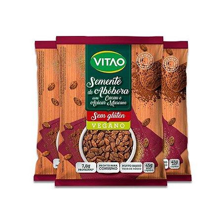 Semente de Abóbora com Cacau e Açúcar Mascavo Vegano, Sem Glúten Vitao contendo 3 pacotes de 45g cada