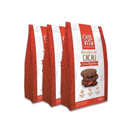 Biscoitos de cacau multigrãos sem gluten e sem lactose CeliVita Gluten Free contendo 3 pacotes de 100g cada