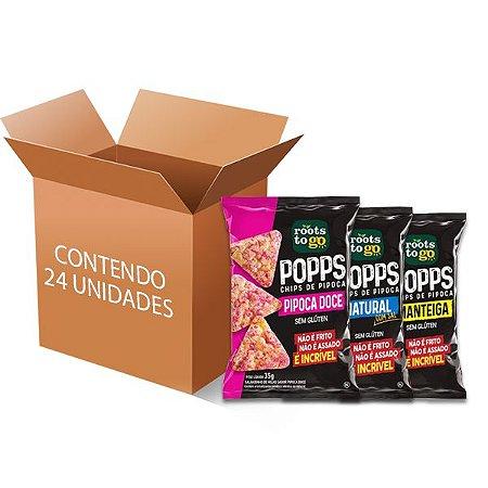 Popps Chips de Pipoca Sortidos Roots to go contendo 24 unidades de 35g