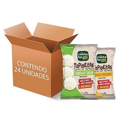 Tapiokitas Chipps de tapioca Sortidos Roots to go contendo 24 unidades de 35g