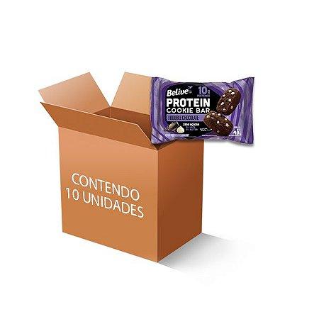 Cookie Bar Protein Double Chocolate Zero Leite, Zero Açúcar Belive contendo 10 pacotes de 48g cada
